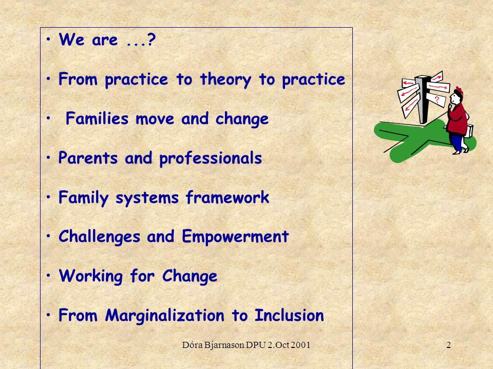 Dóra Bjarnason DPU 2.Oct 20012 We are....