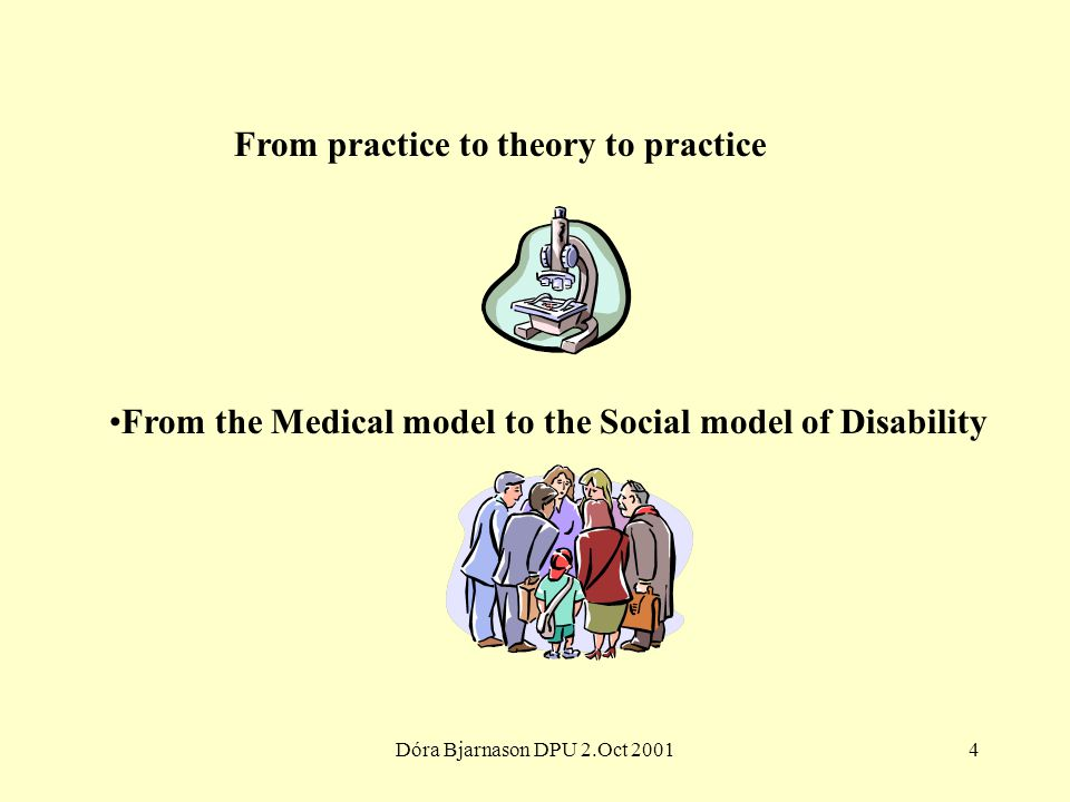 Dóra Bjarnason DPU 2.Oct 20014 From practice to theory to practice From the Medical model to the Social model of Disability