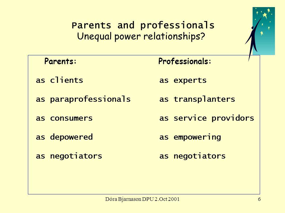 Dóra Bjarnason DPU 2.Oct 20016 Parents and professionals Unequal power relationships.