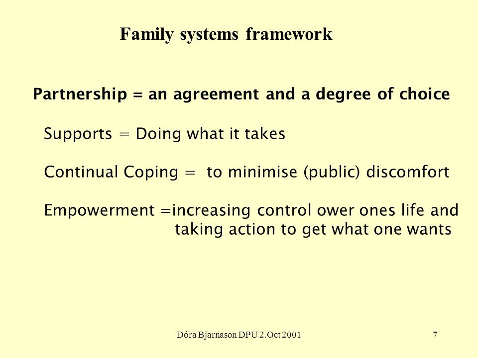 Dóra Bjarnason DPU 2.Oct 20017 Family systems framework Partnership = an agreement and a degree of choice Supports = Doing what it takes Continual Coping = to minimise (public) discomfort Empowerment =increasing control ower ones life and taking action to get what one wants