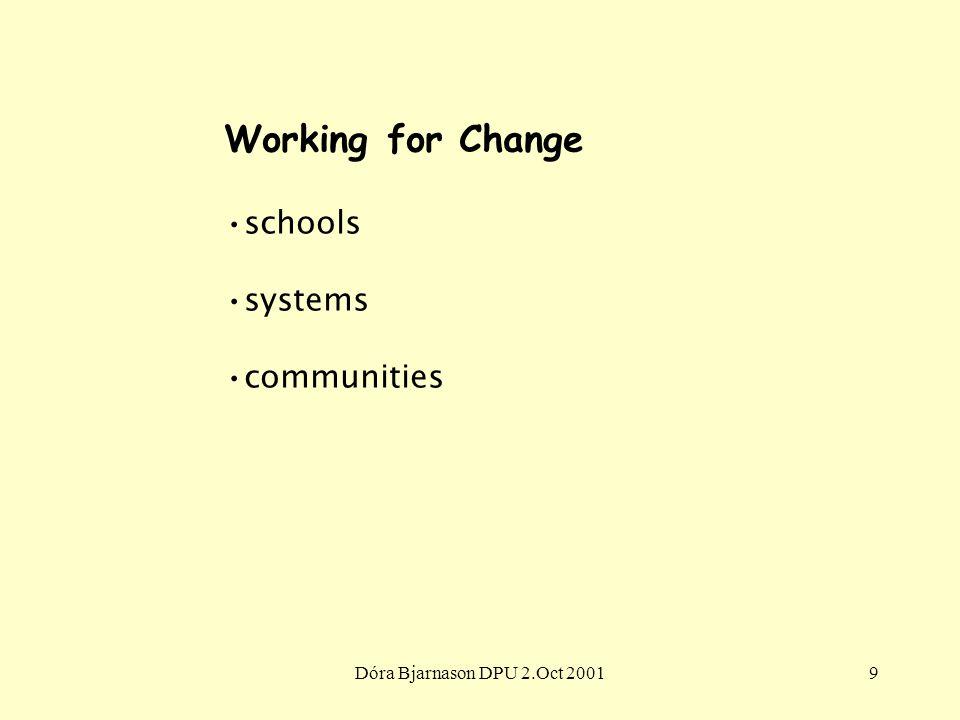 Dóra Bjarnason DPU 2.Oct 20019 Working for Change schools systems communities
