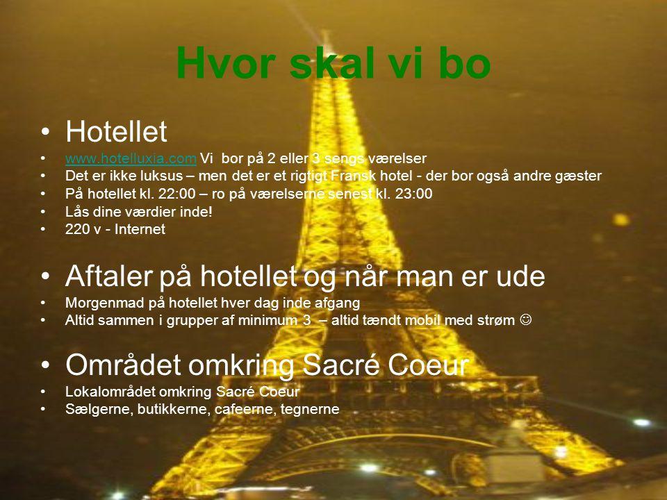Hvor skal vi bo Hotellet www.hotelluxia.com Vi bor på 2 eller 3 sengs værelserwww.hotelluxia.com Det er ikke luksus – men det er et rigtigt Fransk hotel - der bor også andre gæster På hotellet kl.