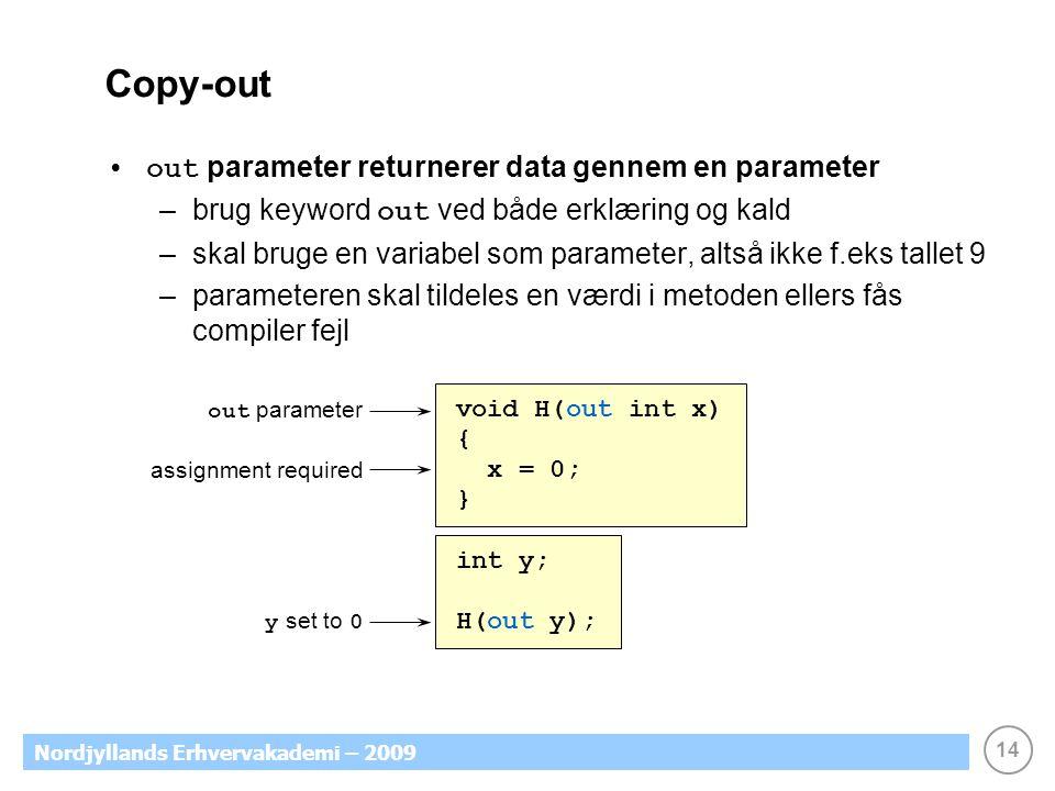 14 Nordjyllands Erhvervakademi – 2009 Copy-out out parameter returnerer data gennem en parameter –brug keyword out ved både erklæring og kald –skal bruge en variabel som parameter, altså ikke f.eks tallet 9 –parameteren skal tildeles en værdi i metoden ellers fås compiler fejl out parameter void H(out int x) { x = 0; } int y; H(out y); y set to 0 assignment required