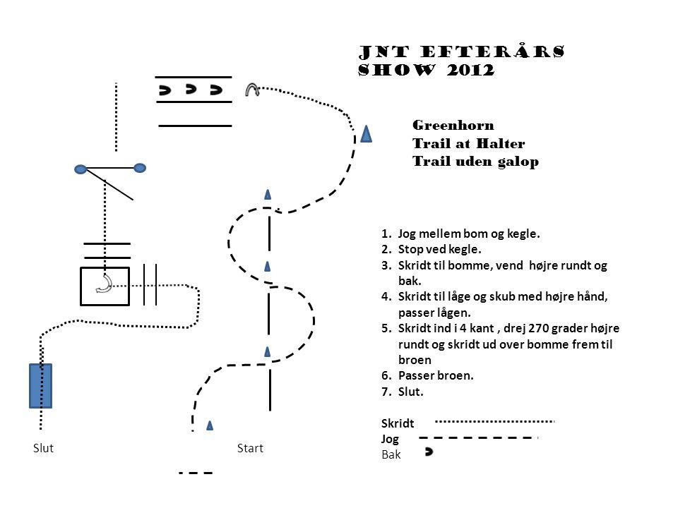 Jnt efterårs show 2012 1.Jog mellem bom og kegle. 2.Stop ved kegle.