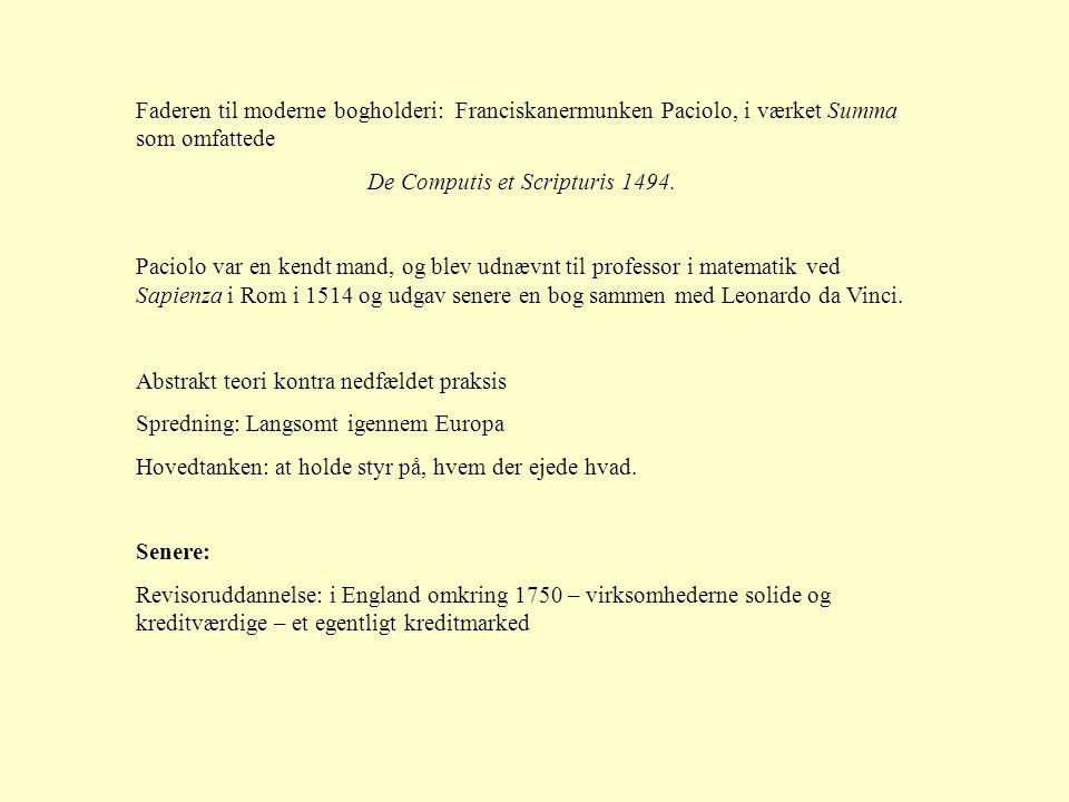 Faderen til moderne bogholderi: Franciskanermunken Paciolo, i værket Summa som omfattede De Computis et Scripturis 1494.