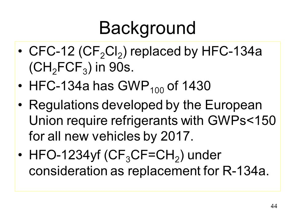 44 Background CFC-12 (CF 2 Cl 2 ) replaced by HFC-134a (CH 2 FCF 3 ) in 90s.
