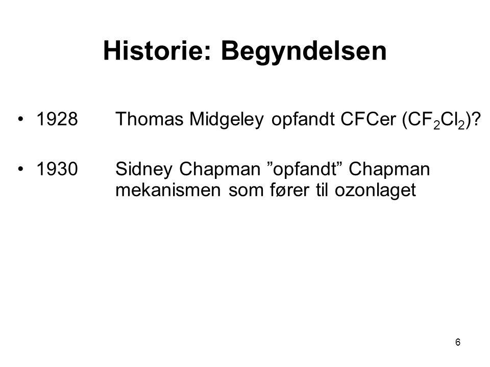 6 Historie: Begyndelsen 1928Thomas Midgeley opfandt CFCer (CF 2 Cl 2 ).