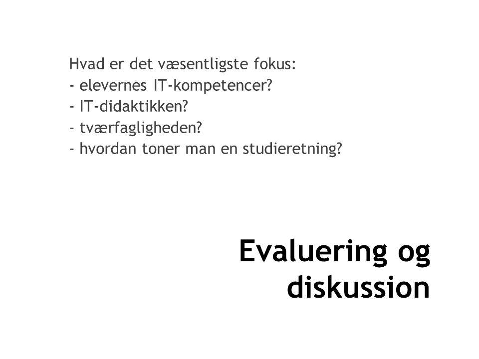 Evaluering og diskussion Hvad er det væsentligste fokus: - elevernes IT-kompetencer.