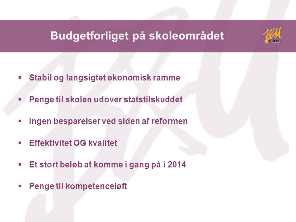 Budgetforliget på skoleområdet  Stabil og langsigtet økonomisk ramme  Penge til skolen udover statstilskuddet  Ingen besparelser ved siden af reformen  Effektivitet OG kvalitet  Et stort beløb at komme i gang på i 2014  Penge til kompetenceløft