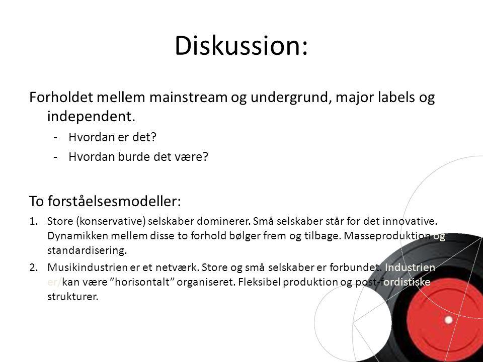 Diskussion: Forholdet mellem mainstream og undergrund, major labels og independent.