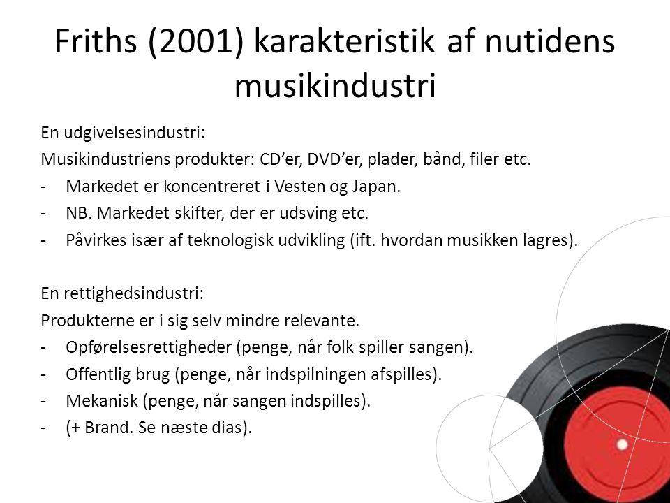 Friths (2001) karakteristik af nutidens musikindustri En udgivelsesindustri: Musikindustriens produkter: CD'er, DVD'er, plader, bånd, filer etc.