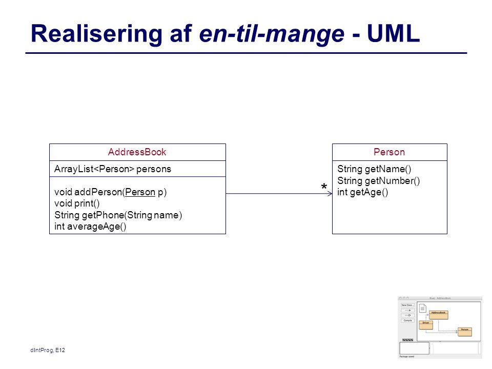 Realisering af en-til-mange - UML dIntProg, E12 AddressBook ArrayList persons void addPerson(Person p) void print() String getPhone(String name) int averageAge() Person String getName() String getNumber() int getAge() *