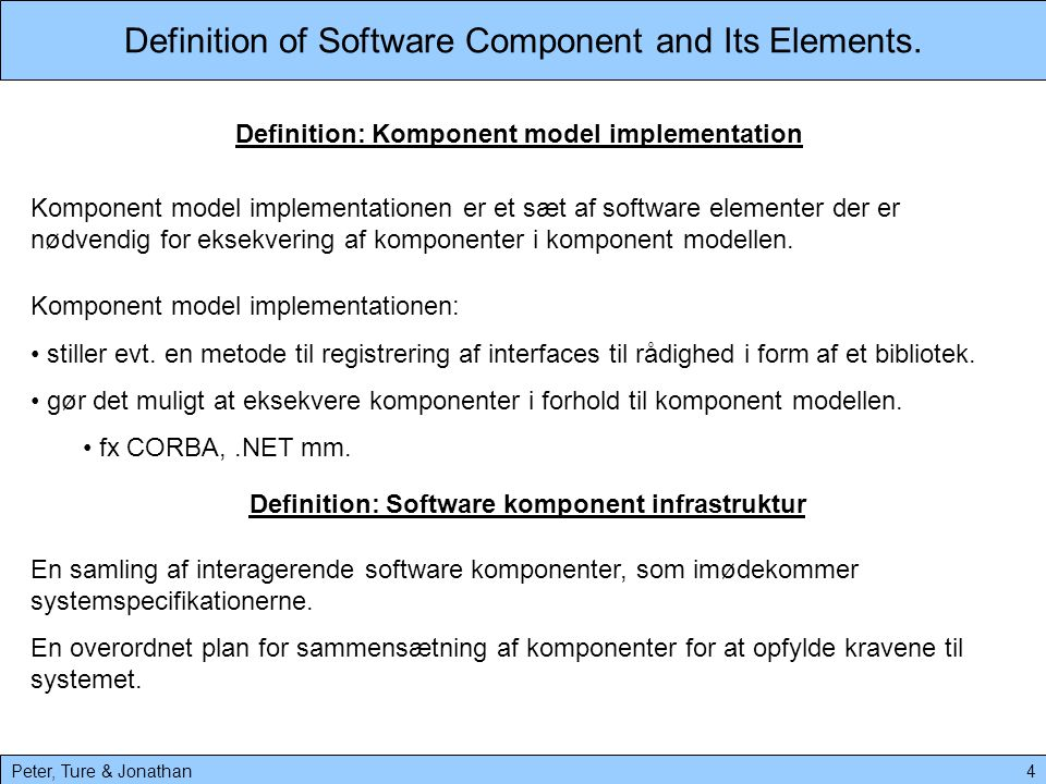 Definition of Software Component and Its Elements.