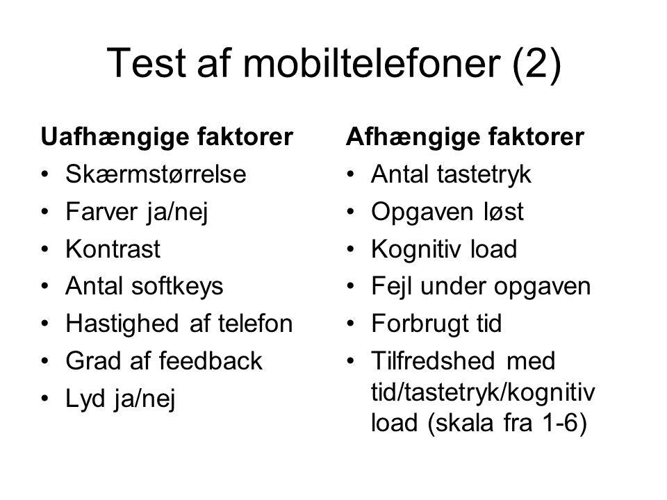Test af mobiltelefoner (2) Uafhængige faktorer Skærmstørrelse Farver ja/nej Kontrast Antal softkeys Hastighed af telefon Grad af feedback Lyd ja/nej Afhængige faktorer Antal tastetryk Opgaven løst Kognitiv load Fejl under opgaven Forbrugt tid Tilfredshed med tid/tastetryk/kognitiv load (skala fra 1-6)