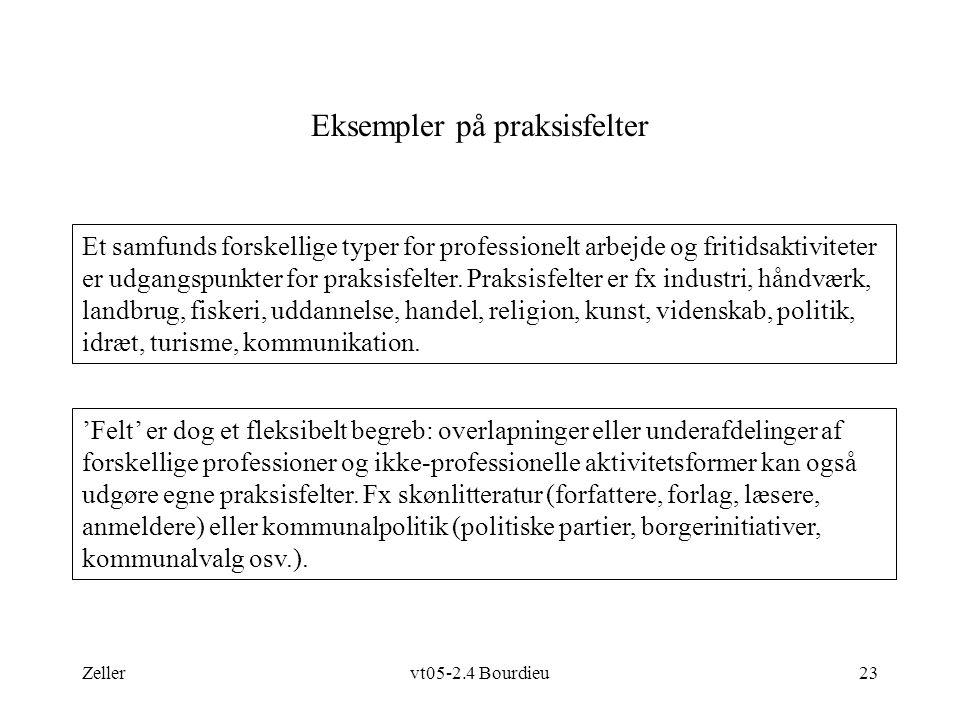 Zellervt05-2.4 Bourdieu23 Eksempler på praksisfelter Et samfunds forskellige typer for professionelt arbejde og fritidsaktiviteter er udgangspunkter for praksisfelter.