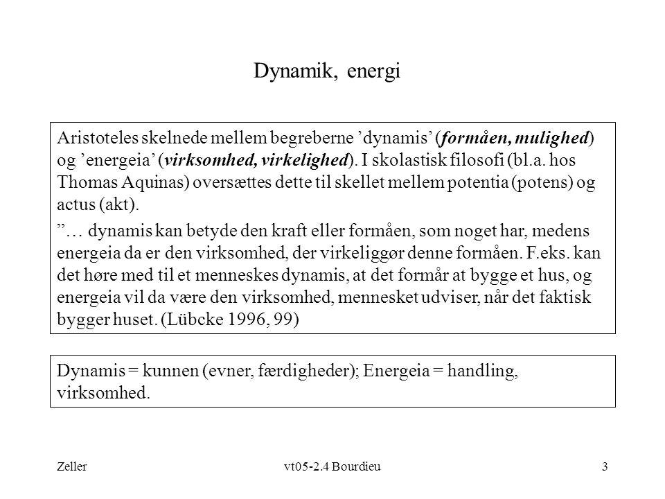 Zellervt05-2.4 Bourdieu3 Dynamik, energi Dynamis = kunnen (evner, færdigheder); Energeia = handling, virksomhed.
