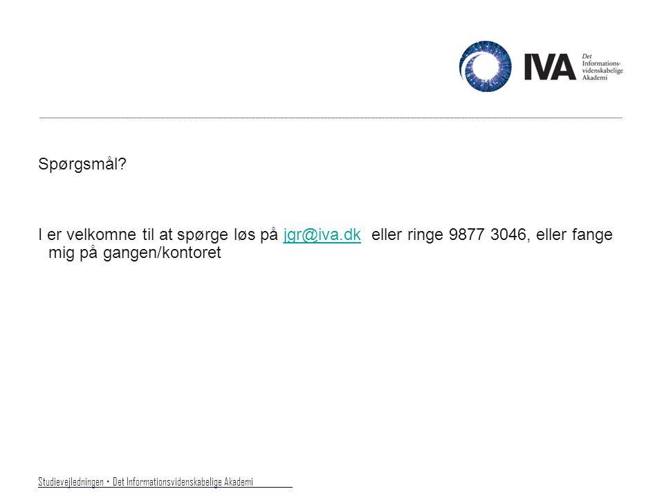 Studievejledningen ۰ Det Informationsvidenskabelige Akademi.