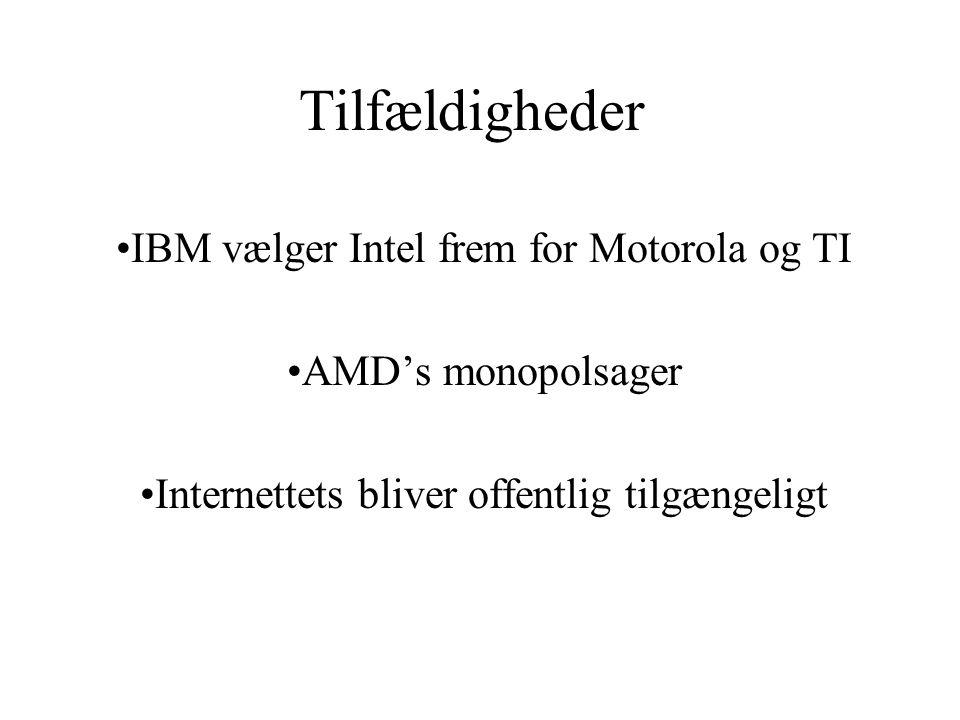 Tilfældigheder IBM vælger Intel frem for Motorola og TI AMD's monopolsager Internettets bliver offentlig tilgængeligt