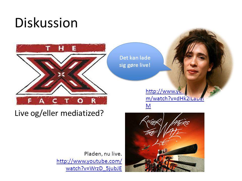 Diskussion Live og/eller mediatized.