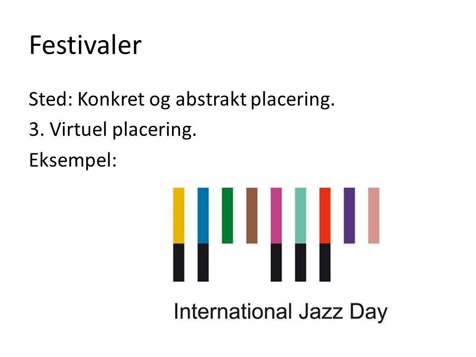 Festivaler Sted: Konkret og abstrakt placering. 3. Virtuel placering. Eksempel: