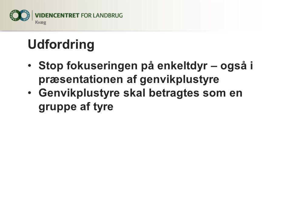 Udfordring Stop fokuseringen på enkeltdyr – også i præsentationen af genvikplustyre Genvikplustyre skal betragtes som en gruppe af tyre