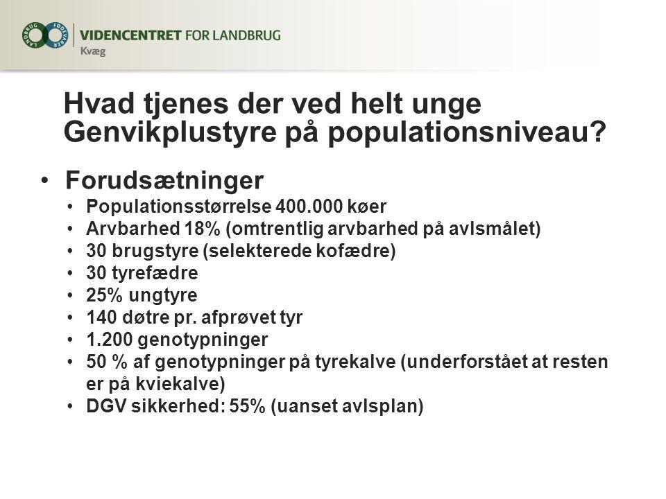 Forudsætninger Populationsstørrelse 400.000 køer Arvbarhed 18% (omtrentlig arvbarhed på avlsmålet) 30 brugstyre (selekterede kofædre) 30 tyrefædre 25% ungtyre 140 døtre pr.