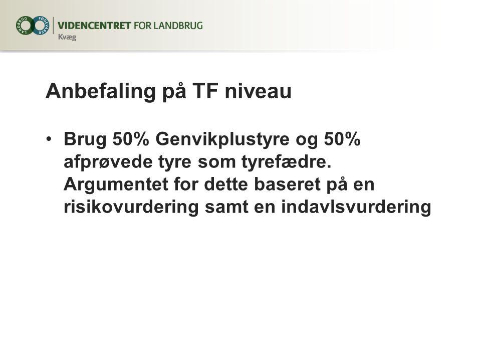Anbefaling på TF niveau Brug 50% Genvikplustyre og 50% afprøvede tyre som tyrefædre.