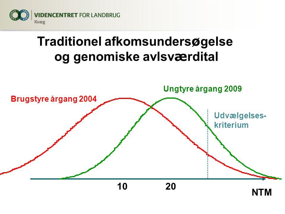 Traditionel afkomsunders ø gelse og genomiske avlsv æ rdital NTM 10 20 Udvælgelses- kriterium Brugstyre årgang 2004 Ungtyre årgang 2009