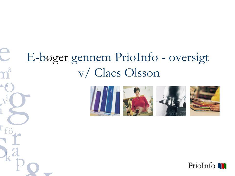 E-bøger gennem PrioInfo - oversigt v/ Claes Olsson