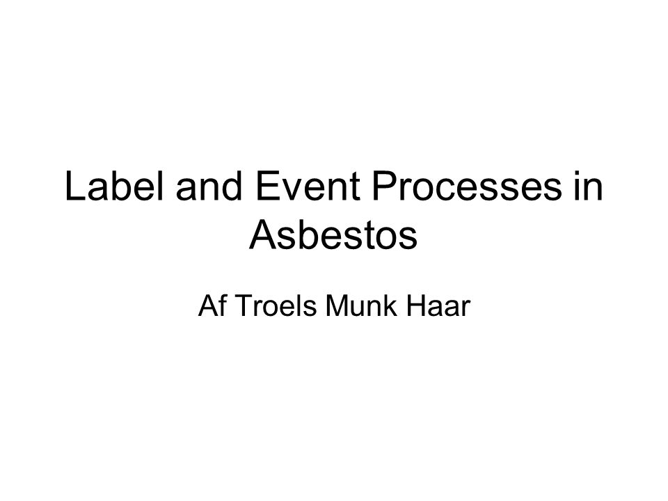 Label and Event Processes in Asbestos Af Troels Munk Haar