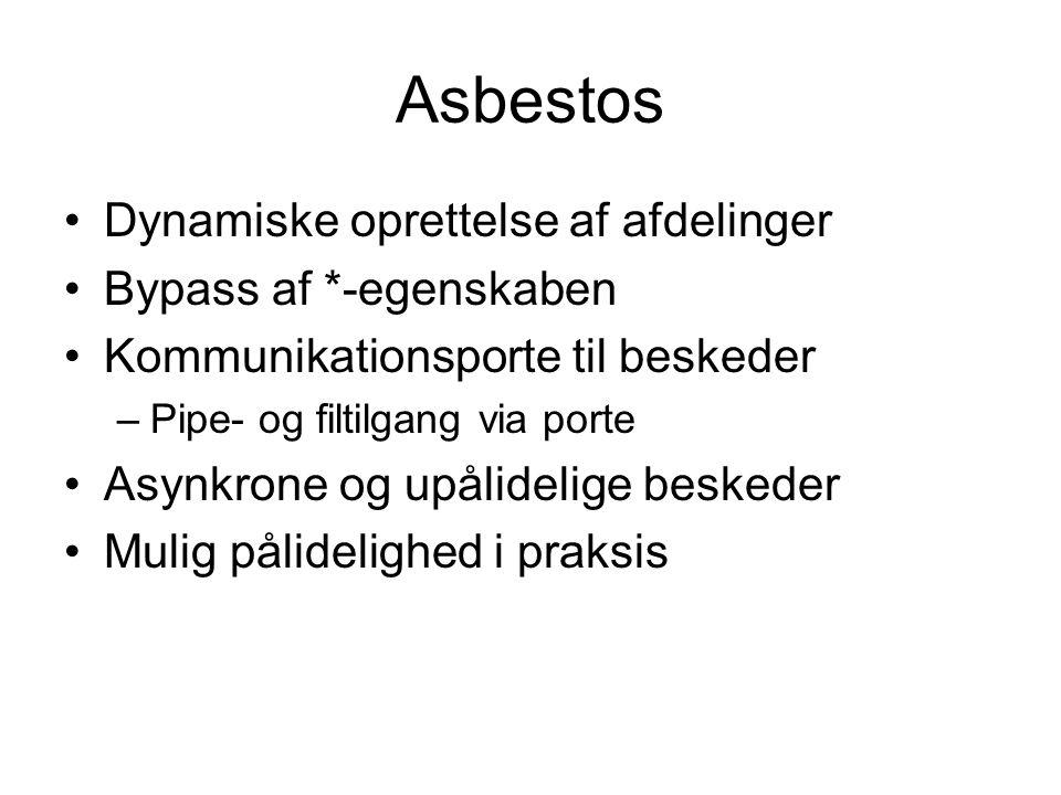 Asbestos Dynamiske oprettelse af afdelinger Bypass af *-egenskaben Kommunikationsporte til beskeder –Pipe- og filtilgang via porte Asynkrone og upålidelige beskeder Mulig pålidelighed i praksis