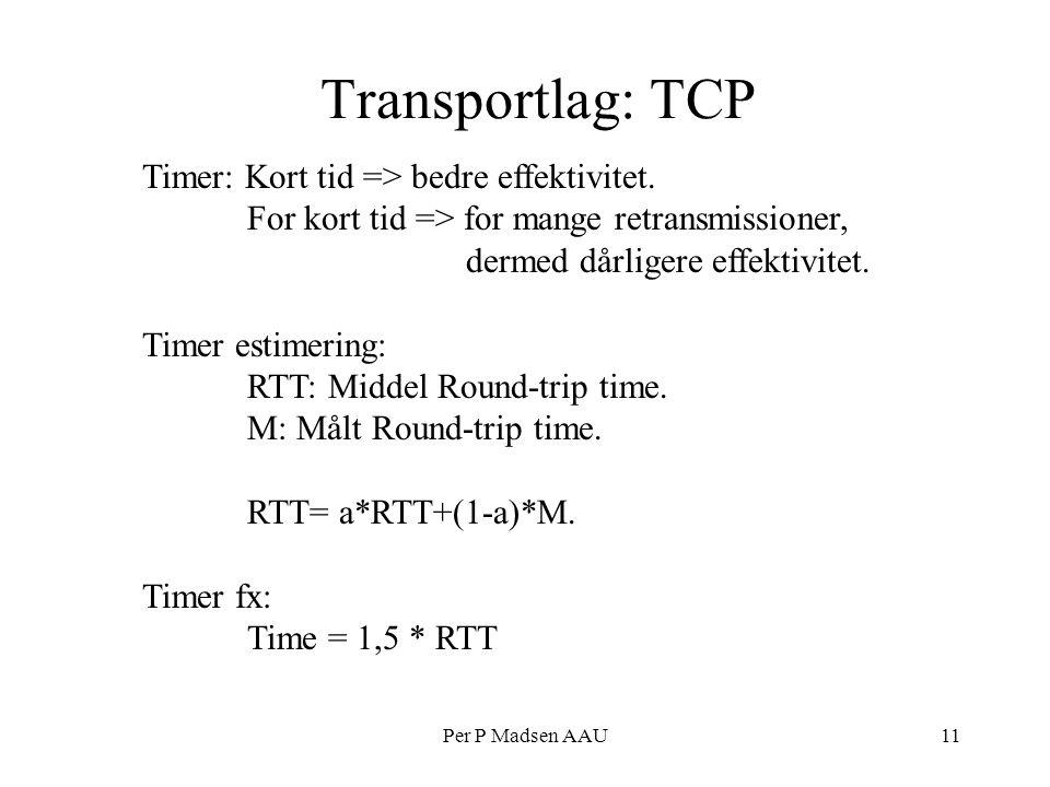 Per P Madsen AAU11 Transportlag: TCP Timer: Kort tid => bedre effektivitet.