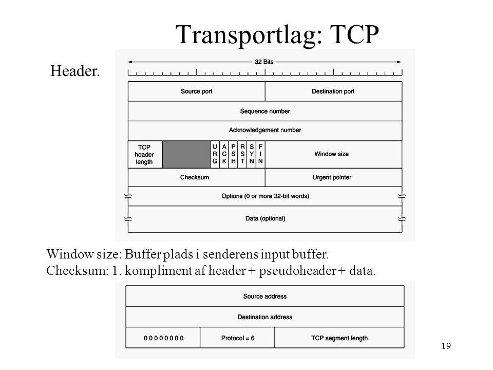 Per P Madsen AAU19 Transportlag: TCP Header. Window size: Buffer plads i senderens input buffer.