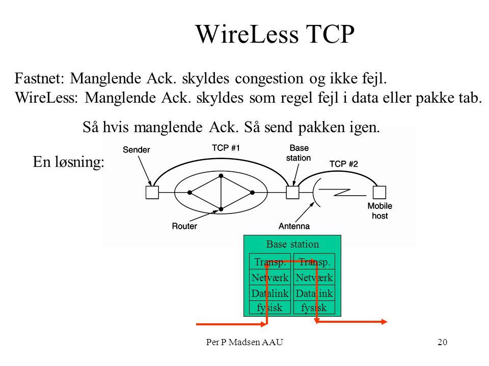 Per P Madsen AAU20 En løsning: WireLess TCP Fastnet: Manglende Ack.