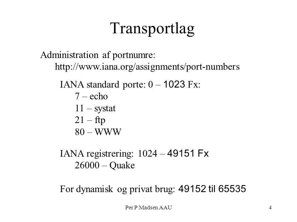 Per P Madsen AAU4 Transportlag Administration af portnumre: http://www.iana.org/assignments/port-numbers IANA standard porte: 0 – 1023 Fx: 7 – echo 11 – systat 21 – ftp 80 – WWW IANA registrering: 1024 – 49151 Fx 26000 – Quake For dynamisk og privat brug: 49152 til 65535