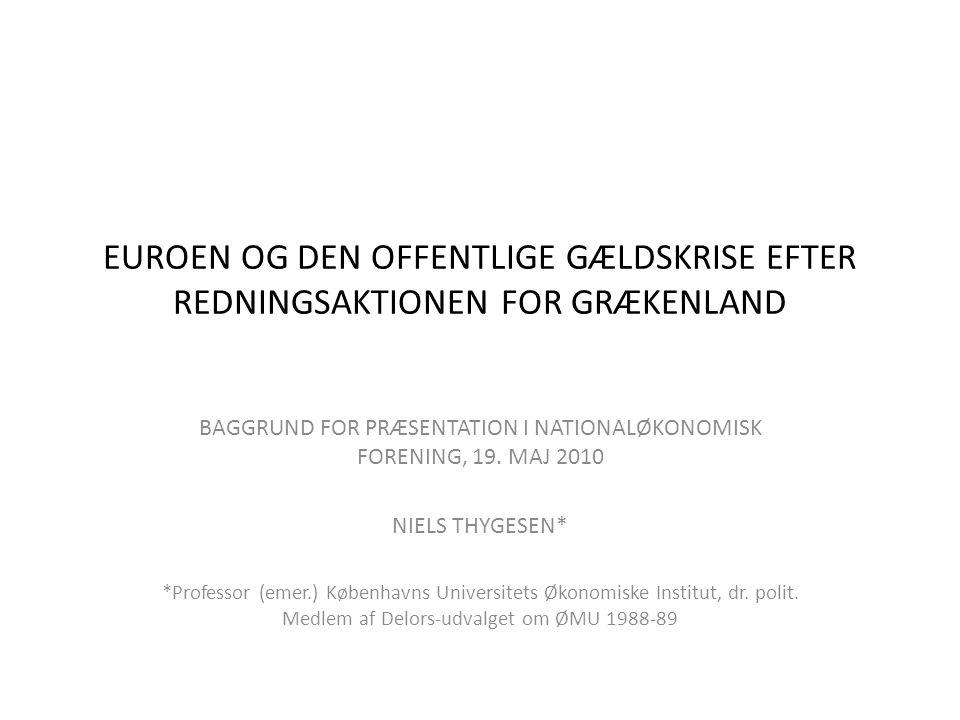 EUROEN OG DEN OFFENTLIGE GÆLDSKRISE EFTER REDNINGSAKTIONEN FOR GRÆKENLAND BAGGRUND FOR PRÆSENTATION I NATIONALØKONOMISK FORENING, 19.