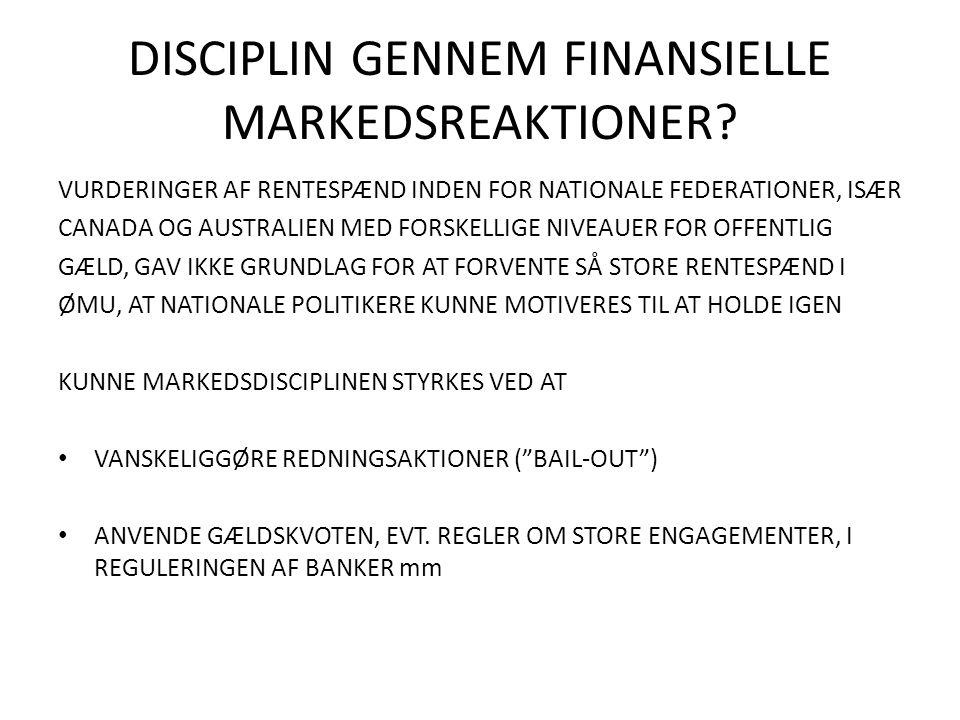 DISCIPLIN GENNEM FINANSIELLE MARKEDSREAKTIONER.