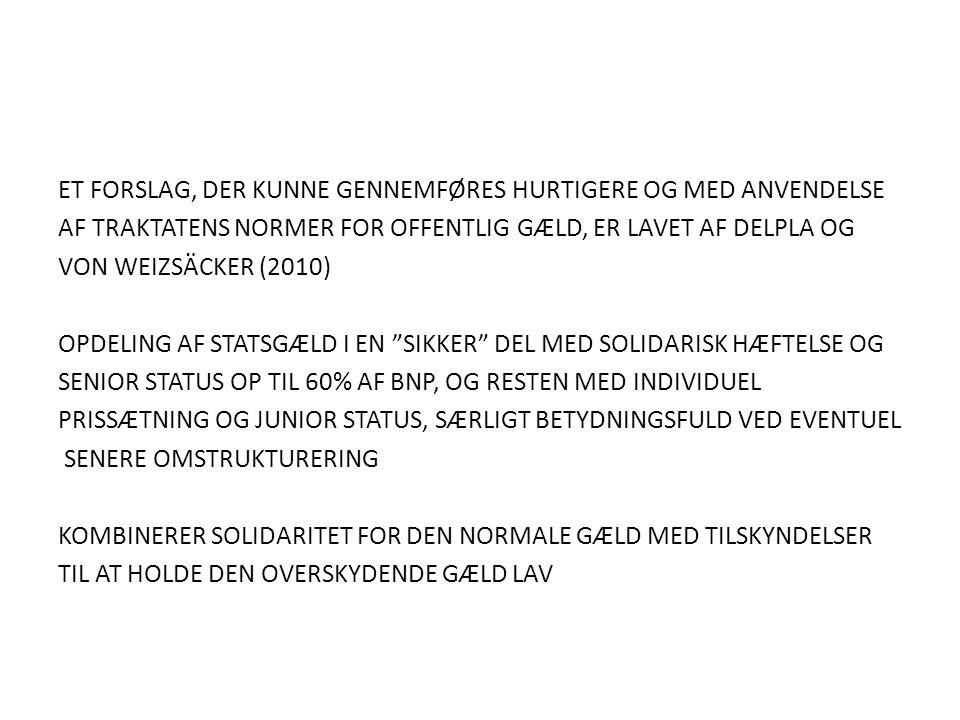 ET FORSLAG, DER KUNNE GENNEMFØRES HURTIGERE OG MED ANVENDELSE AF TRAKTATENS NORMER FOR OFFENTLIG GÆLD, ER LAVET AF DELPLA OG VON WEIZSÄCKER (2010) OPDELING AF STATSGÆLD I EN SIKKER DEL MED SOLIDARISK HÆFTELSE OG SENIOR STATUS OP TIL 60% AF BNP, OG RESTEN MED INDIVIDUEL PRISSÆTNING OG JUNIOR STATUS, SÆRLIGT BETYDNINGSFULD VED EVENTUEL SENERE OMSTRUKTURERING KOMBINERER SOLIDARITET FOR DEN NORMALE GÆLD MED TILSKYNDELSER TIL AT HOLDE DEN OVERSKYDENDE GÆLD LAV