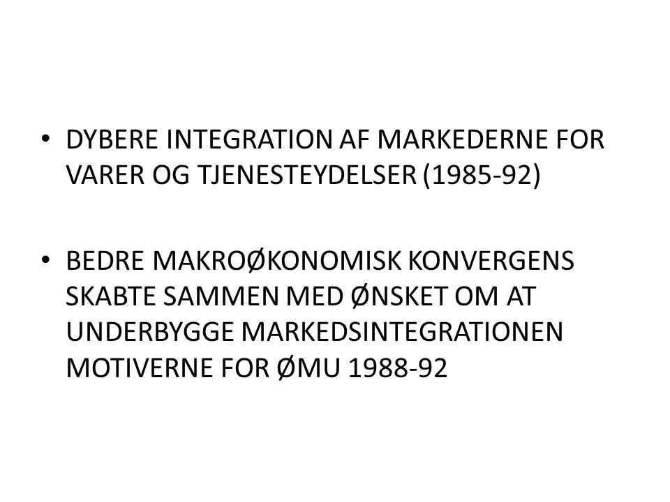 DYBERE INTEGRATION AF MARKEDERNE FOR VARER OG TJENESTEYDELSER (1985-92) BEDRE MAKROØKONOMISK KONVERGENS SKABTE SAMMEN MED ØNSKET OM AT UNDERBYGGE MARKEDSINTEGRATIONEN MOTIVERNE FOR ØMU 1988-92