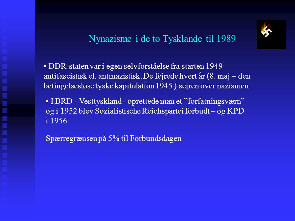 Nynazisme i de to Tysklande til 1989 DDR-staten var i egen selvforståelse fra starten 1949 antifascistisk el.