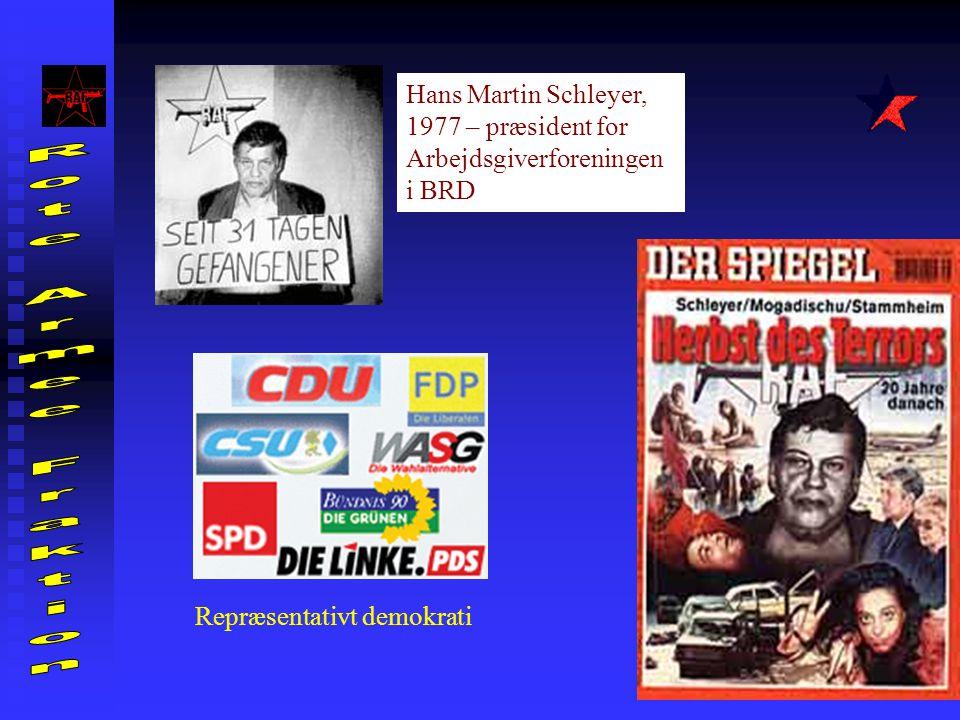 Repræsentativt demokrati Hans Martin Schleyer, 1977 – præsident for Arbejdsgiverforeningen i BRD