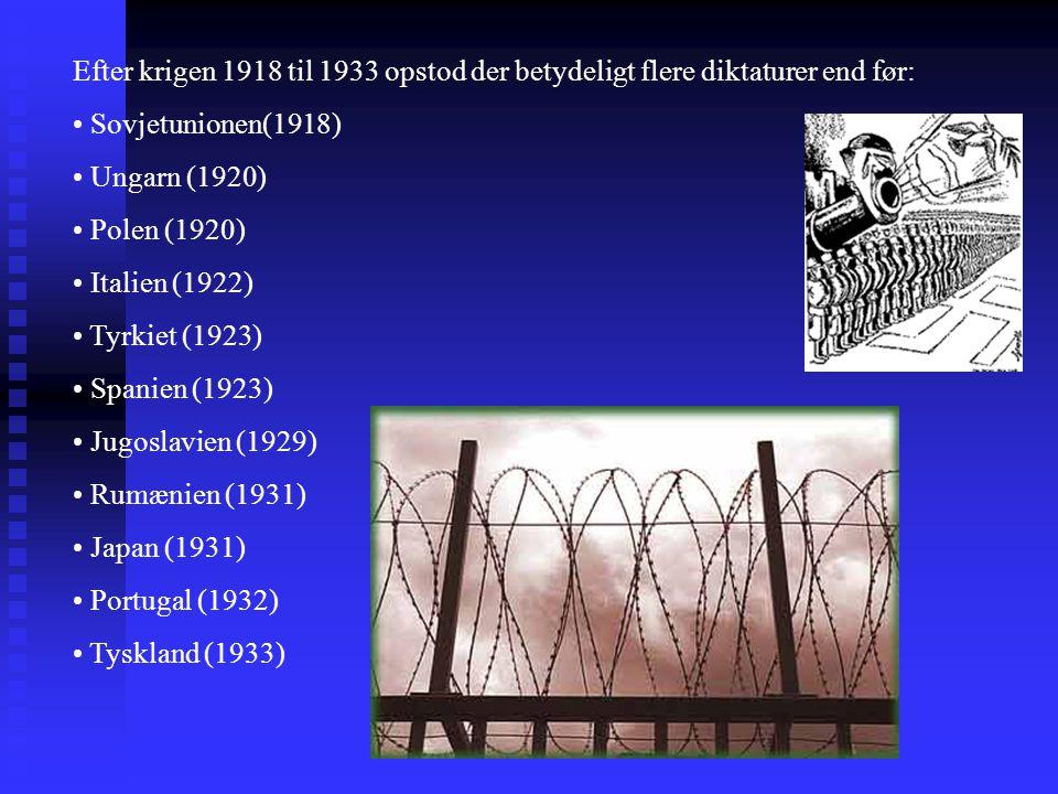 Efter krigen 1918 til 1933 opstod der betydeligt flere diktaturer end før: Sovjetunionen(1918) Ungarn (1920) Polen (1920) Italien (1922) Tyrkiet (1923) Spanien (1923) Jugoslavien (1929) Rumænien (1931) Japan (1931) Portugal (1932) Tyskland (1933)