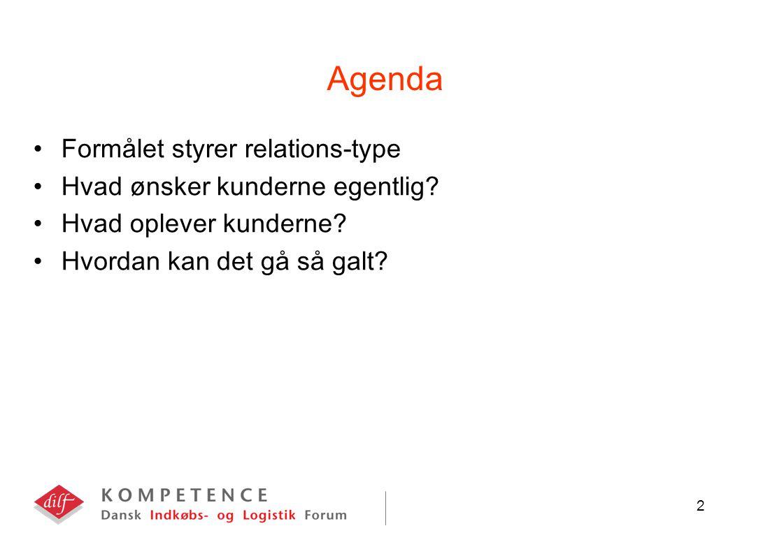 2 Agenda Formålet styrer relations-type Hvad ønsker kunderne egentlig.