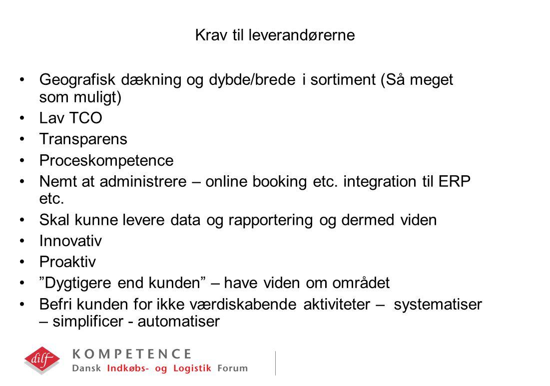 Krav til leverandørerne Geografisk dækning og dybde/brede i sortiment (Så meget som muligt) Lav TCO Transparens Proceskompetence Nemt at administrere – online booking etc.