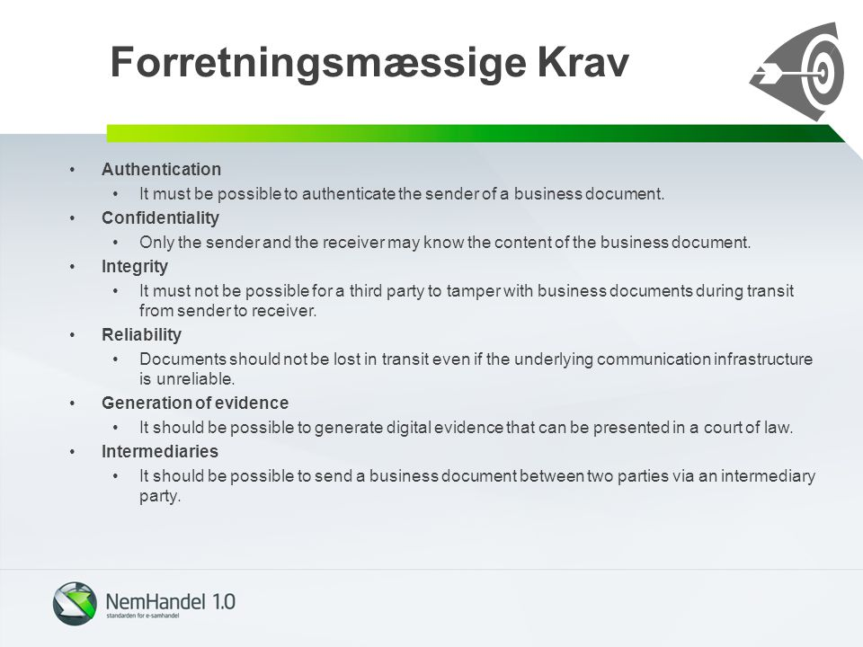Forretningsmæssige Krav Authentication It must be possible to authenticate the sender of a business document.