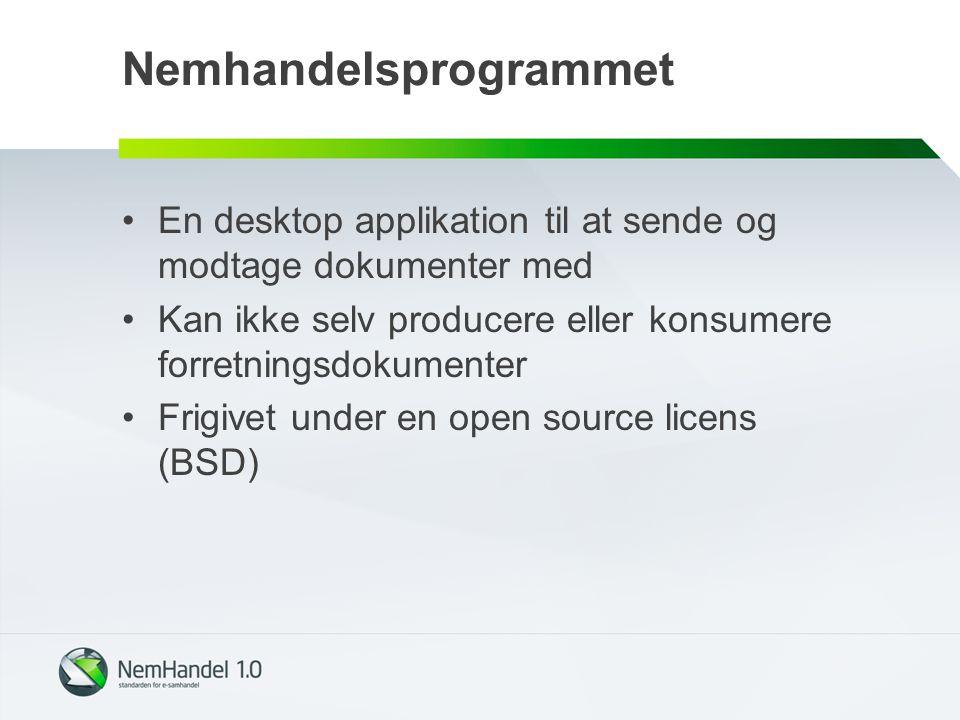 Nemhandelsprogrammet En desktop applikation til at sende og modtage dokumenter med Kan ikke selv producere eller konsumere forretningsdokumenter Frigivet under en open source licens (BSD)