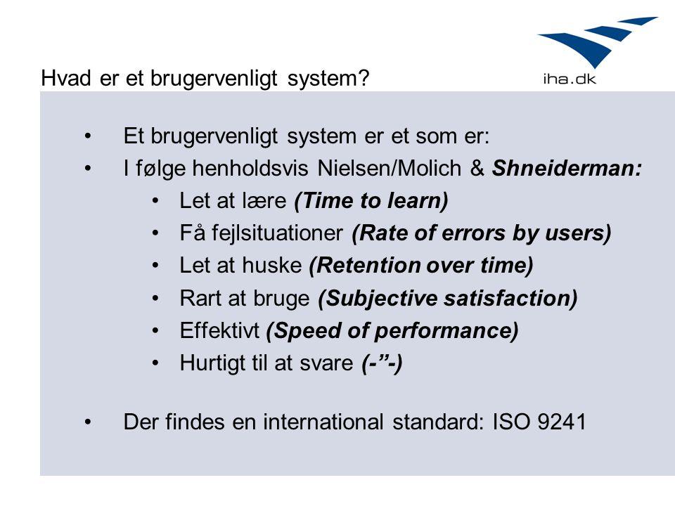 Hvad er et brugervenligt system.