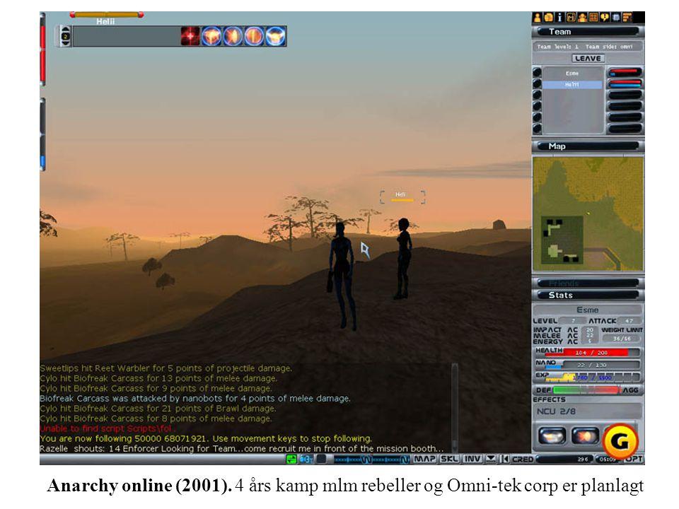 Anarchy online (2001). 4 års kamp mlm rebeller og Omni-tek corp er planlagt