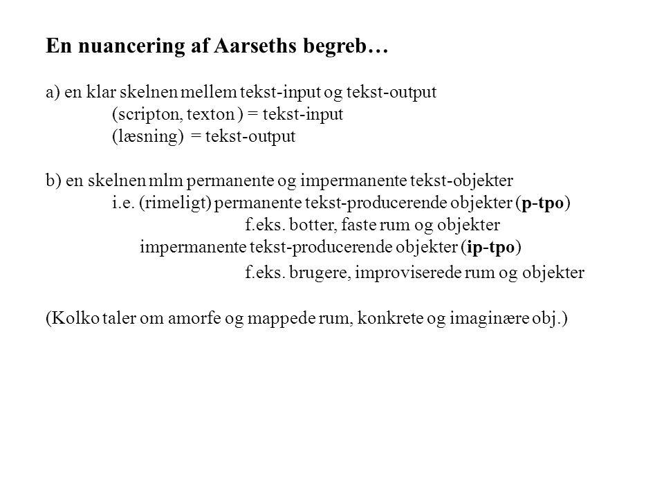 En nuancering af Aarseths begreb… a) en klar skelnen mellem tekst-input og tekst-output (scripton, texton ) = tekst-input (læsning) = tekst-output b) en skelnen mlm permanente og impermanente tekst-objekter i.e.