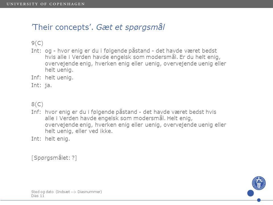 Sted og dato (Indsæt --> Diasnummer) Dias 11 'Their concepts'.